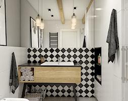 """""""wszystko i nic"""" czyli styl mieszany. - Mała szara łazienka w bloku bez okna, styl eklektyczny - zdjęcie od WERDHOME - Homebook"""
