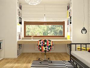 Dom w Opolu - Średni biały czarny pokój dziecka dla dziewczynki dla nastolatka, styl skandynawski - zdjęcie od WERDHOME