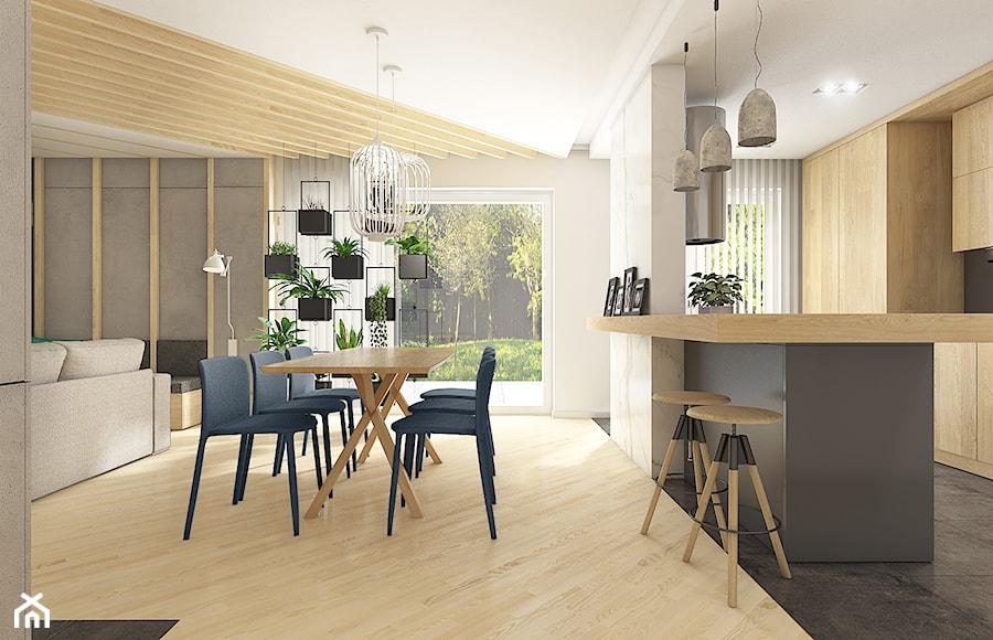 Dom w Bolechowicach - Średnia otwarta biała szara jadalnia w salonie, styl nowoczesny - zdjęcie od WERDHOME