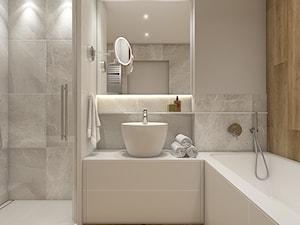 Dwa światy - Mała szara łazienka w bloku w domu jednorodzinnym bez okna, styl nowoczesny - zdjęcie od WERDHOME