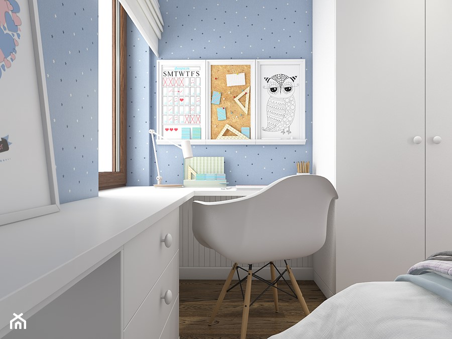Z indygo - Mały niebieski pokój dziecka dla dziewczynki dla ucznia dla nastolatka - zdjęcie od WERDHOME