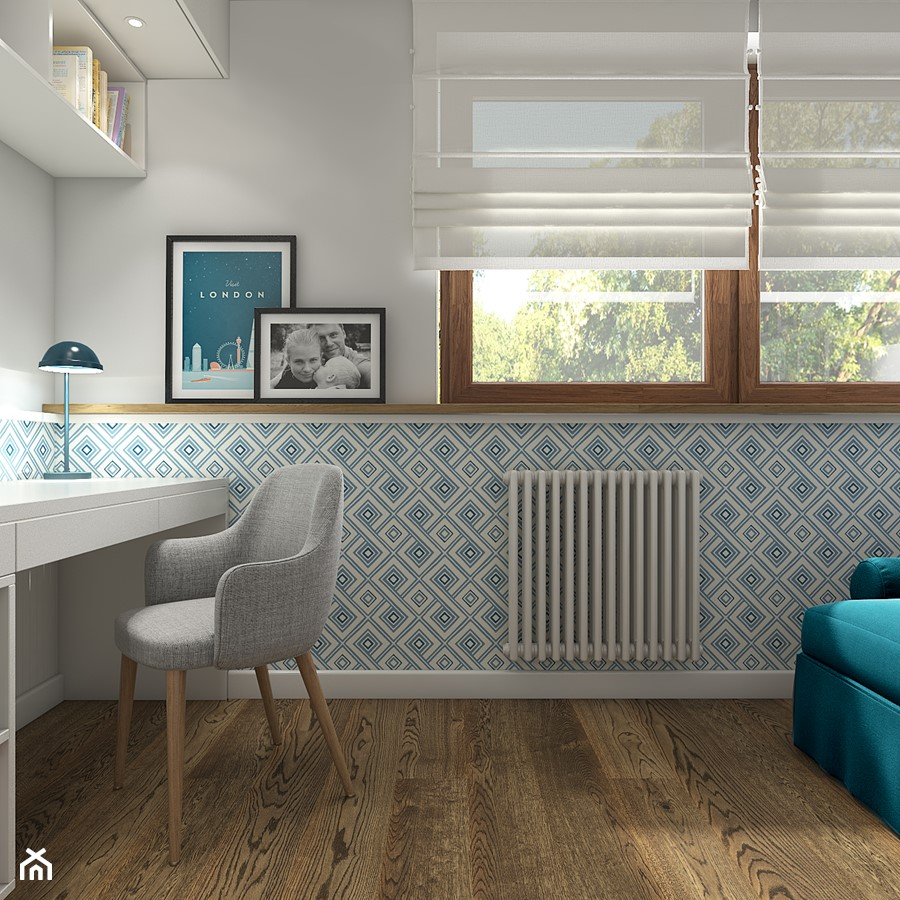 Z indygo - Średnie niebieskie białe biuro pracownia w pokoju - zdjęcie od WERDHOME