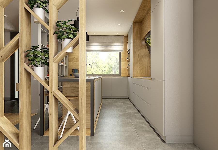 Dom pod Krakowem - przestrzeń zupełna - Średnia otwarta kuchnia w kształcie litery l z wyspą, styl nowoczesny - zdjęcie od WERDHOME