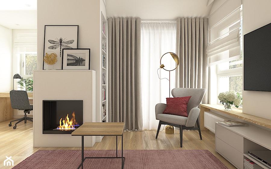 Mieszkanie w krakowie 50 m2 - Średni biały salon z bibiloteczką, styl nowoczesny - zdjęcie od WERDHOME