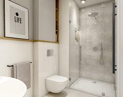 Dom w Opolu - Mała biała szara łazienka, styl nowoczesny - zdjęcie od WERDHOME