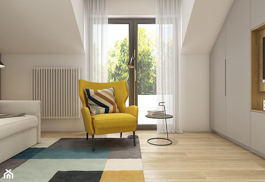Aranżacje wnętrz - Sypialnia: Dom pod Krakowem - przestrzeń zupełna - Mała biała sypialnia dla gości na poddaszu - WERDHOME. Przeglądaj, dodawaj i zapisuj najlepsze zdjęcia, pomysły i inspiracje designerskie. W bazie mamy już prawie milion fotografii!