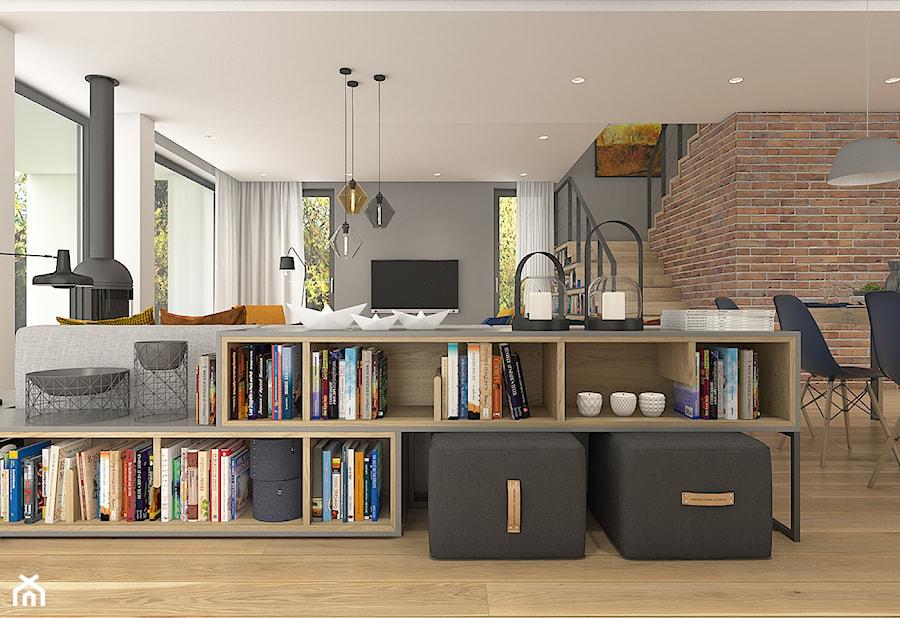 Dom pod Krakowem - przestrzeń zupełna - Średni szary brązowy salon z jadalnią, styl nowoczesny - zdjęcie od WERDHOME