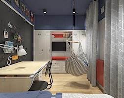 Dwa światy - Mały średni biały niebieski czarny pokój dziecka dla chłopca dla ucznia dla nastolatka, styl nowoczesny - zdjęcie od WERDHOME