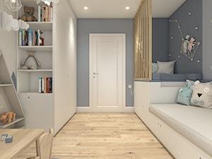 Dom na Wilanowie - Warszawa - Mały szary pokój dziecka dla chłopca dla dziewczynki dla ucznia dla malucha, styl skandynawski - zdjęcie od WERDHOME