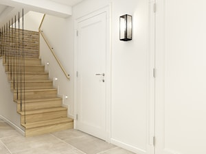 Średnie wąskie schody dwubiegowe drewniane betonowe, styl eklektyczny - zdjęcie od WERDHOME