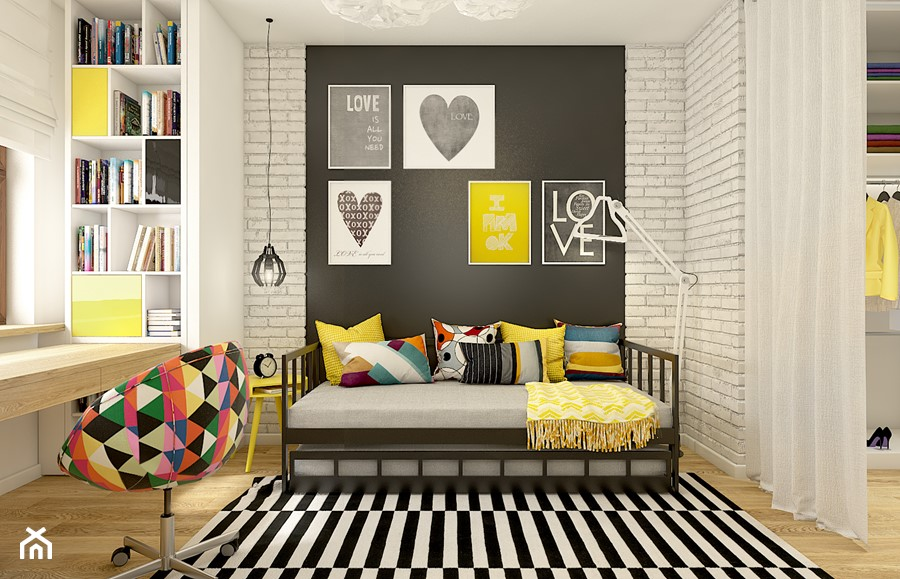 Aranżacje wnętrz - Pokój dziecka: Dom w Opolu - Średni biały czarny pokój dziecka dla dziewczynki dla nastolatka, styl skandynawski - WERDHOME. Przeglądaj, dodawaj i zapisuj najlepsze zdjęcia, pomysły i inspiracje designerskie. W bazie mamy już prawie milion fotografii!