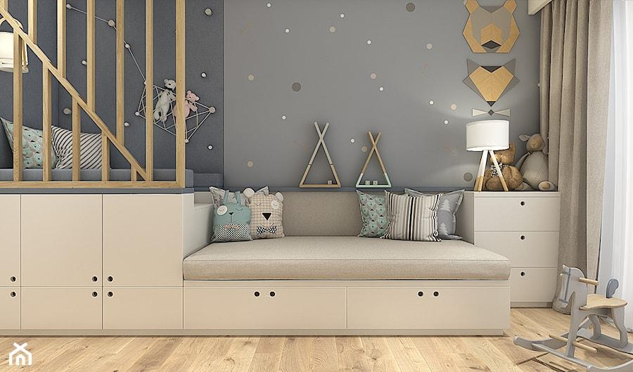 Dom na Wilanowie - Warszawa - Mały szary pokój dziecka dla chłopca dla dziewczynki dla malucha, styl skandynawski - zdjęcie od WERDHOME