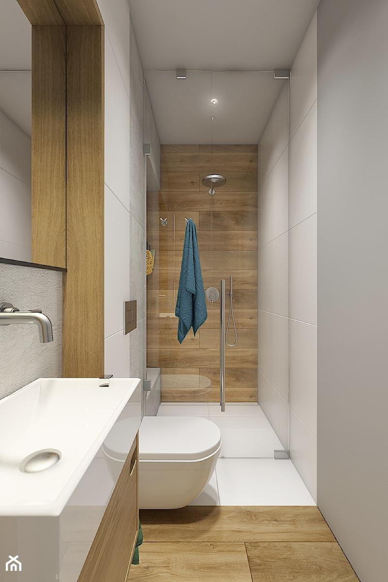 Dom pod Krakowem - przestrzeń zupełna - Mała biała szara łazienka w bloku w domu jednorodzinnym bez okna, styl nowoczesny - zdjęcie od WERDHOME
