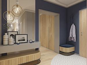 Apartament - Kraków - Duży niebieski szary hol / przedpokój, styl nowoczesny - zdjęcie od WERDHOME
