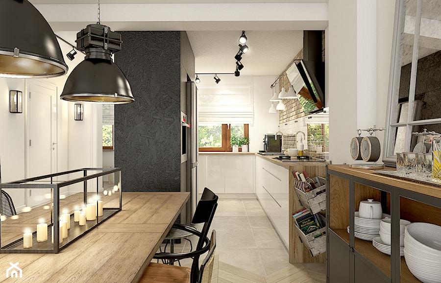 """""""wszystko i nic"""" czyli styl mieszany. - Duża otwarta wąska biała kuchnia w kształcie litery l, styl eklektyczny - zdjęcie od WERDHOME"""