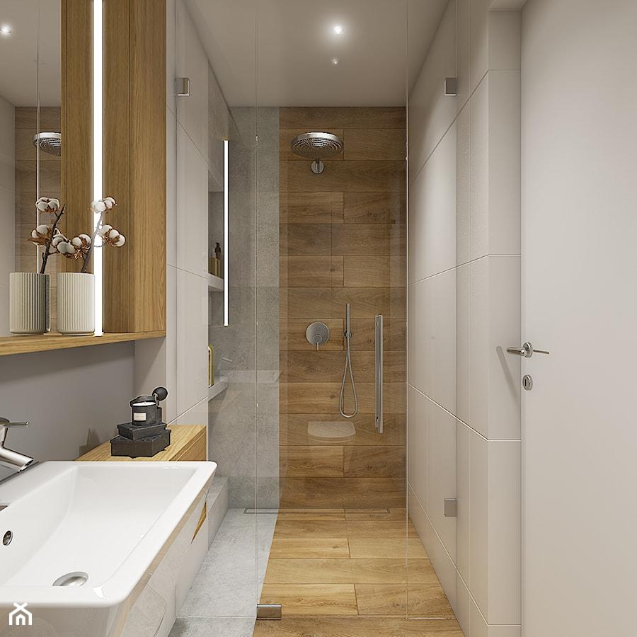 Dom pod Krakowem - przestrzeń zupełna - Mała biała beżowa łazienka w bloku bez okna - zdjęcie od WERDHOME