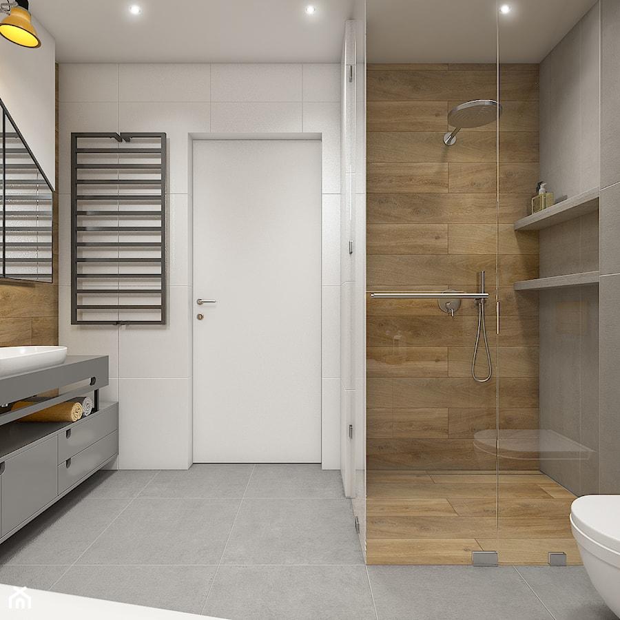 Dom pod Krakowem - przestrzeń zupełna - Średnia biała szara łazienka w bloku w domu jednorodzinnym - zdjęcie od WERDHOME