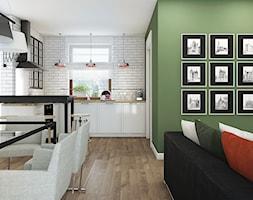 Dom pod Krakowem - Średnia otwarta biała zielona jadalnia w salonie - zdjęcie od WERDHOME