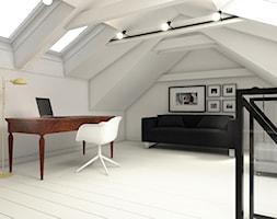 """""""wszystko i nic"""" czyli styl mieszany. - Duże białe biuro pracownia na poddaszu, styl eklektyczny - zdjęcie od WERDHOME"""