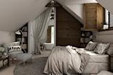 sypialnia na poddaszu, szary dywan, sypialnia z łazienką, beżowy fotel z podnóżkiem