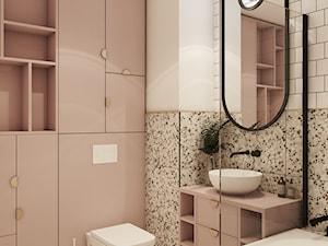 Projekt mieszkania w odważnych kolorach - Mała różowa łazienka w bloku w domu jednorodzinnym bez okna, styl nowoczesny - zdjęcie od MAUO.DESIGN | WNĘTRZA