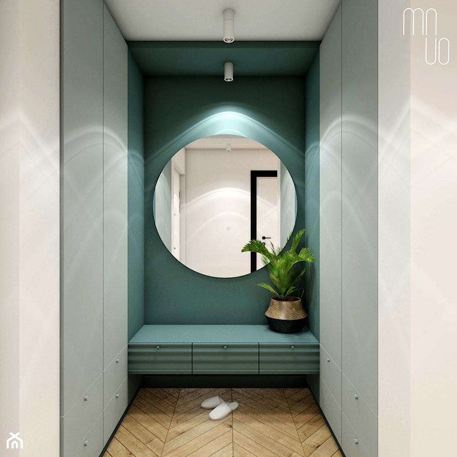 Projekt mieszkania na osiedlu Olimpia Port we Wrocławiu - Mały niebieski hol / przedpokój, styl nowoczesny - zdjęcie od MAUO.DESIGN | WNĘTRZA