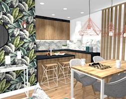 APARTAMENT WARSZAWA - Średnia otwarta biała beżowa zielona kolorowa jadalnia w kuchni, styl nowoczesny - zdjęcie od HOUSE DESIGN
