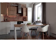 Płytki cementowe na podłodze w kuchni