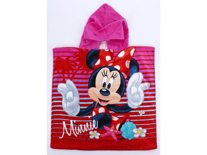Ręcznik bawełniany ponczo z kapturkiem Minnie Pink 55x110, Setino Frotte Ręcznik kąpielowy Ręcznik z kapturkiem Bawełna Dziecięce Ręcznik plażowy 50x100 cm Kolor Różowy