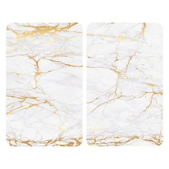 Zestaw 2 szklanych płyt ochronnych na kuchenkę w biało-złotym kolorze Wenko Marble, 52x30 cm