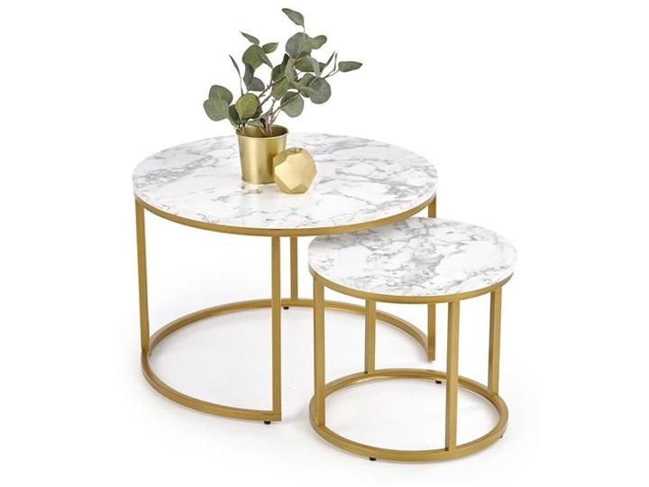 Okrągłe stoliki kawowe marmur + złoto glamour Płyta MDF Wysokość 38 cm Stal Zestaw stolików Wysokość 40 cm Rozmiar blatu 38x38 cm