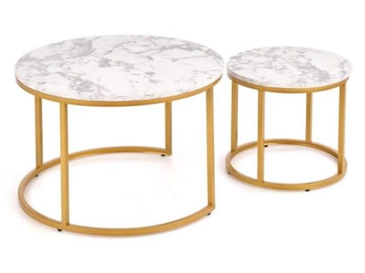 Okrągłe stoliki kawowe marmur + złoto glamour Zestaw stolików Płyta MDF Wysokość 40 cm Stal Wysokość 38 cm Kategoria Stoliki i ławy
