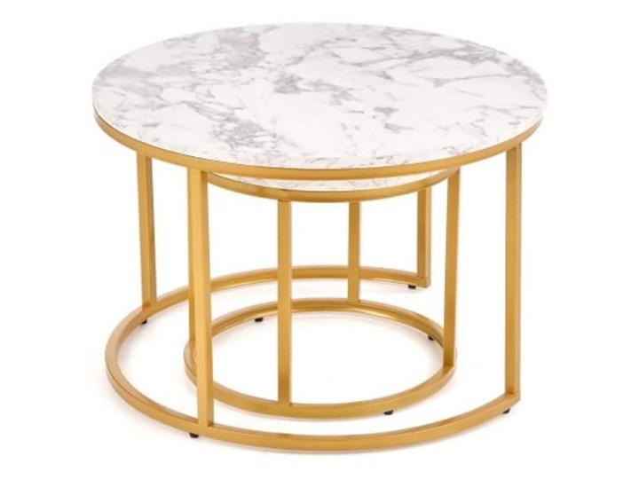 Okrągłe stoliki kawowe marmur + złoto glamour Stal Płyta MDF Kolor Złoty Zestaw stolików Wysokość 38 cm Wysokość 40 cm Styl Minimalistyczny