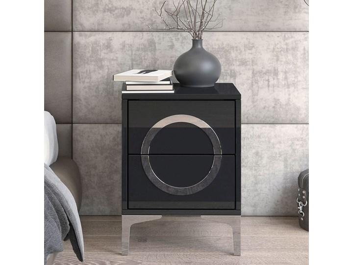 Czarna nowoczesna szafka nocna EVA / wysoki połysk