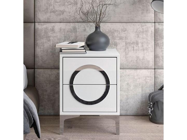Biała nowoczesna szafka nocna EVA / wysoki połysk