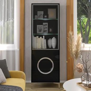 Czarna nowoczesna witryna EVA  ze szklanymi drzwiami / wysoki połysk
