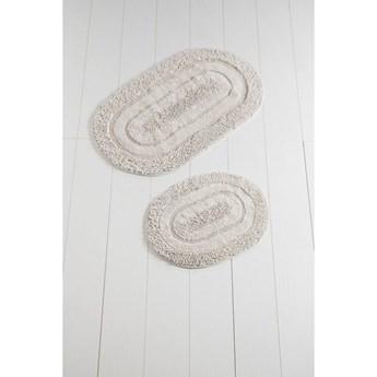 Komplet 2 białych bawełnianych dywaników łazienkowych Carrie Mismo