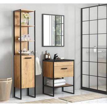 Industrialny komplet mebli łazienkowych loft + umywalka,  dąb craft