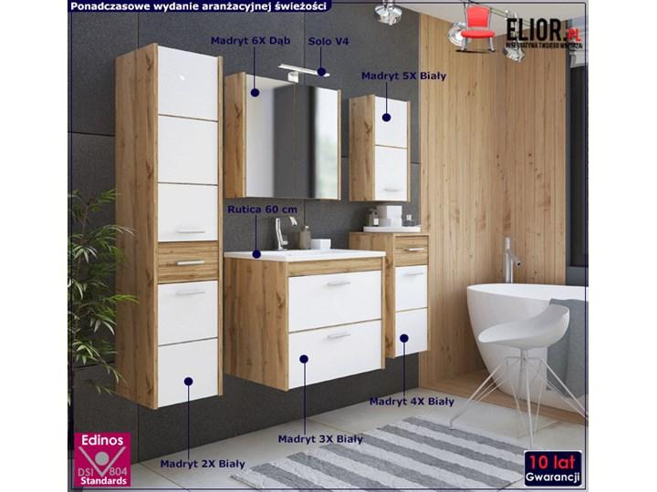 Komplet wiszących szafek łazienkowych - Madryt 2Q Biały Kategoria Zestawy mebli łazienkowych Kolor Brązowy
