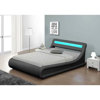 Łóżko z pojemnikiem 140x200 - COMO (138) LED popiel welur z materacem