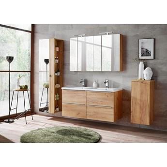 Duży komplet mebli łazienkowych, dwie umywalki, kosz na pranie i lustra