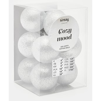 Sinsay - Lampki cotton balls - Srebrny