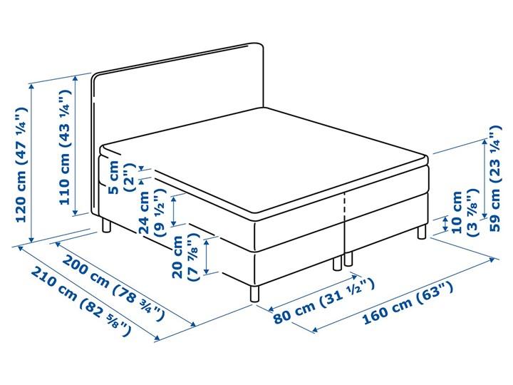 IKEA DUNVIK Łóżko kontynentalne, Valevåg twardy/Tuddal jasnoszary, 160x200 cm Kategoria Łóżka do sypialni Styl Klasyczny