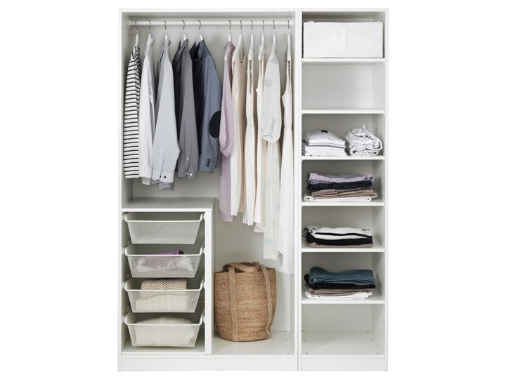 PAX / VIKANES Kombinacja szafy Pomieszczenie Garderoba Szerokość 150 cm Wysokość 201,2 cm Głębokość 60 cm Kategoria Szafy do garderoby