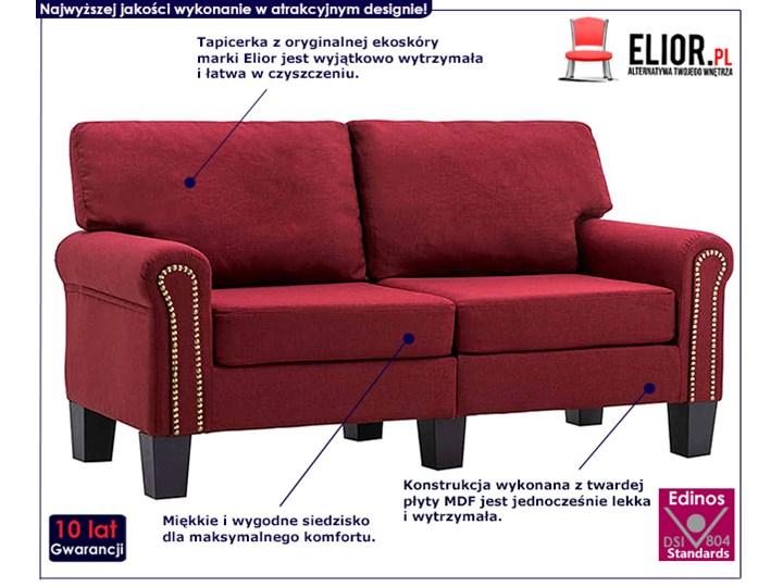 Luksusowa trzyosobowa sofa czerwone wino - Alaia 2X Rozkładanie Głębokość 70 cm Szerokość 145 cm Styl Nowoczesny