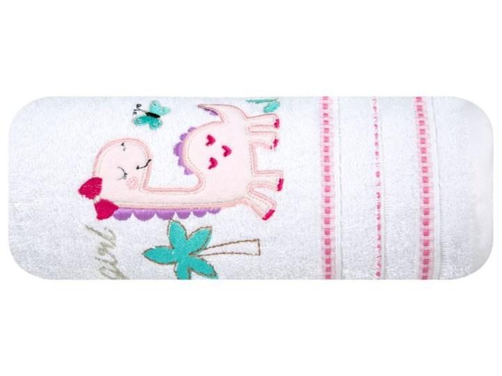 Ręcznik dziecięcy 70x140 Eurofirany Baby 29 dinozaur biały różowy 450g/m2