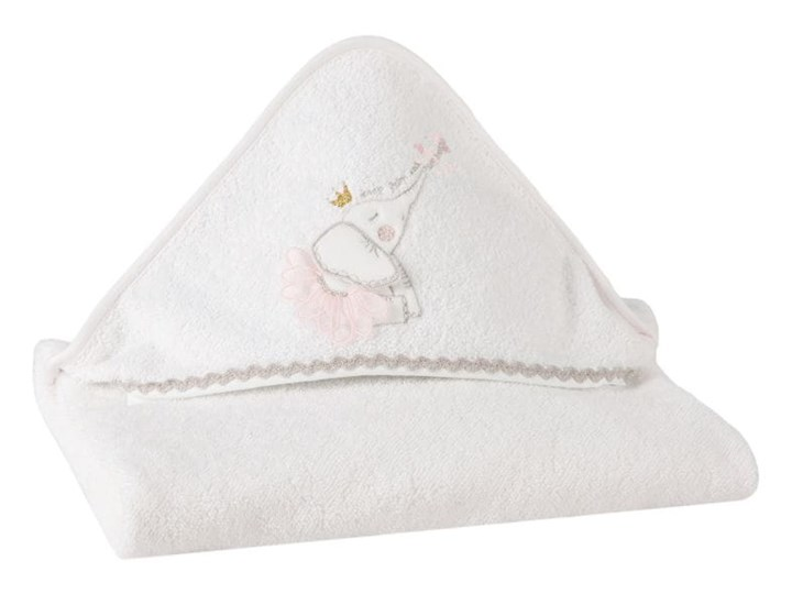 Okrycie kąpielowe niemowlęce 75x75 Eurofirany Baby 23 słonik białe 350 g/m2