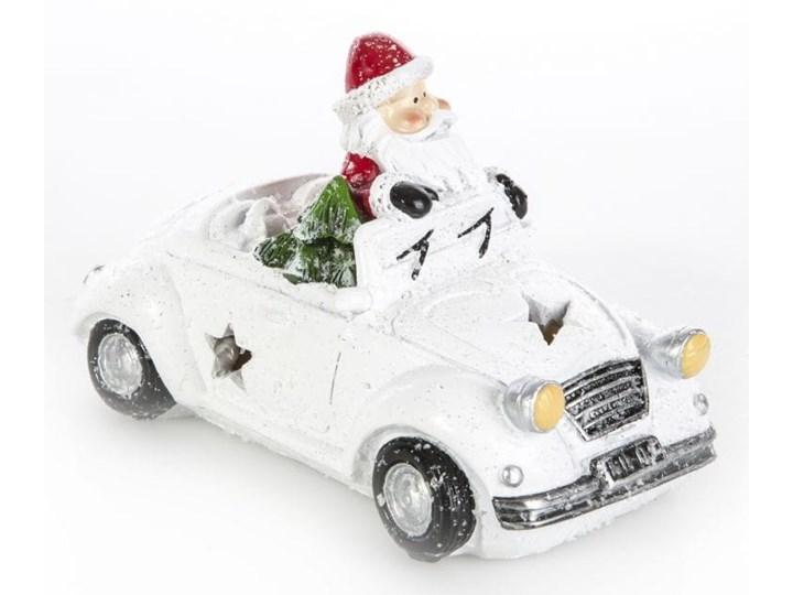 Świecący ceramiczny samochodzik w kolorze białym z Mikołajem 16X9X10 Eurofirany
