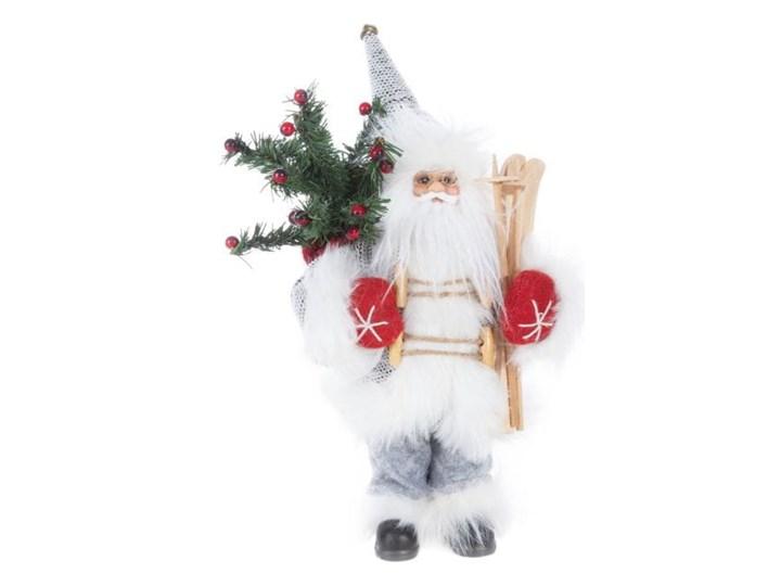 Figurka świąteczna Mikołaj 30 cm Eurofirany biała srebrna