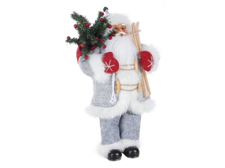 Figurka świąteczna Mikołaj 45 cm Eurofirany biała srebrna